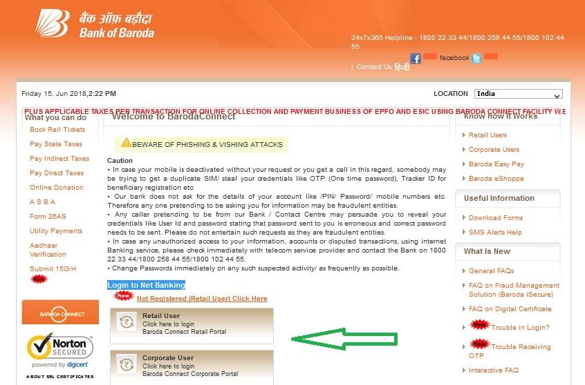 Bank of Baroda online Banking Login